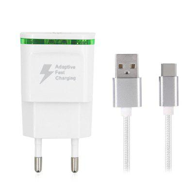 5V / 2A Carregador rápido EU Plug USB Charger Power Adapter + USB 3.1 Tipo-C Fast Charge Cable