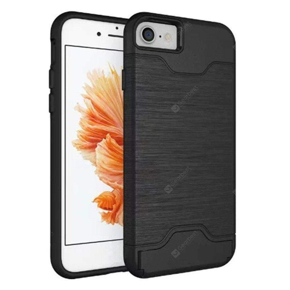 Cover Case iPhone 7 / 8 2 in 1 Hybrid Wire Drawing Armor PC +TPU Case With Stand Card Holder