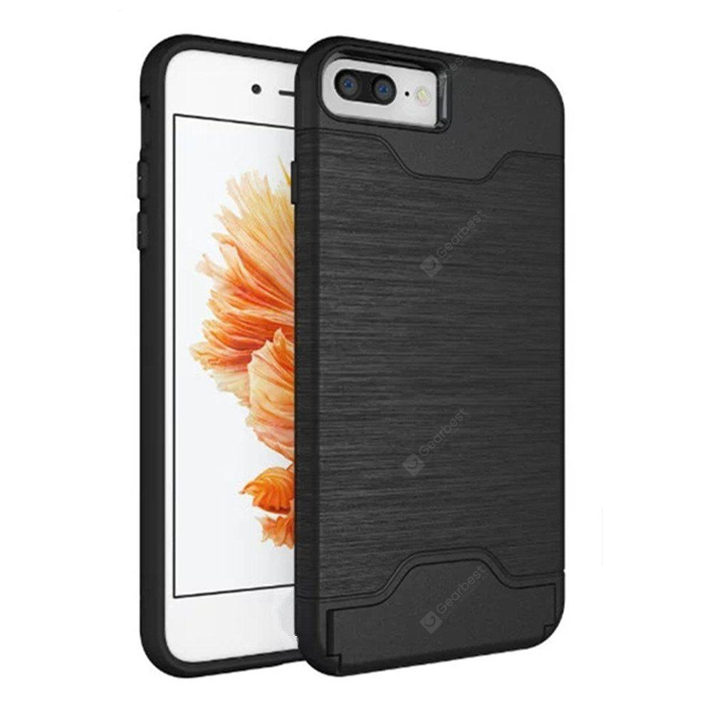 Cover Case iPhone 7 Plus / 8 Plus 2 in 1 Hybrid Wire Drawing Armor PC +TPU Case With Stand Card Holder