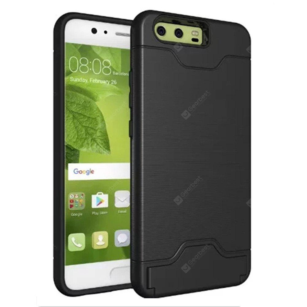 Cover Case for Huawei P10 2 in 1 Hybrid Wire Drawing Armor PC +TPU Case With Stand Card Holder
