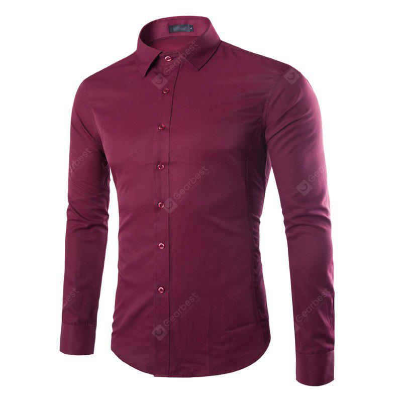 New Fashion Color All-Match Business Mens Long Sleeve Shirt