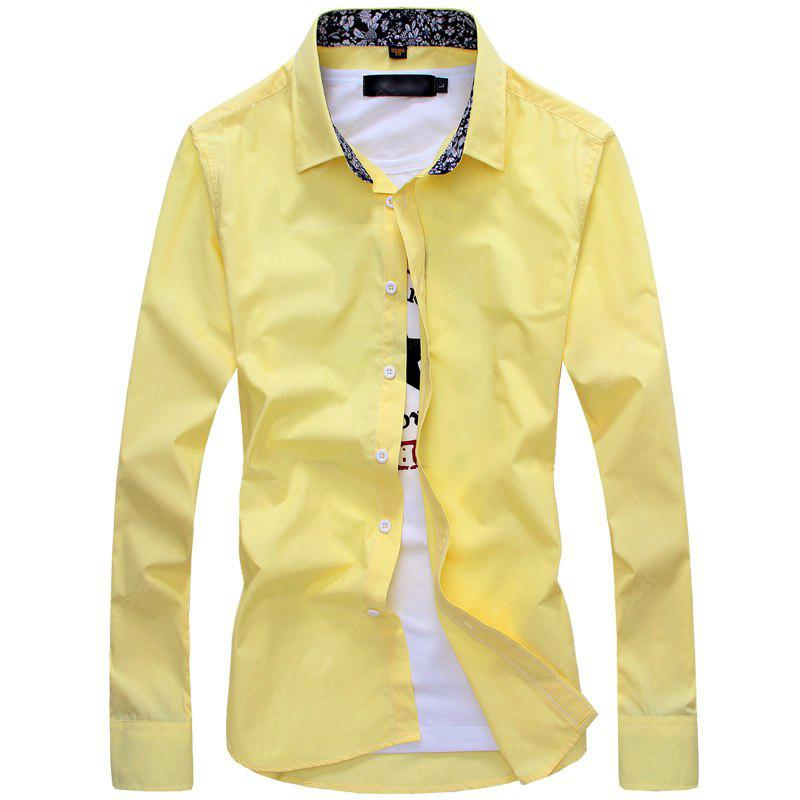 Fashion Pattern All-Match Mens Long Sleeve  Collar Shirt