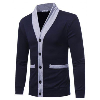 New Fashion V Collar Coat Color Decoration Slim Men Cardigan