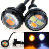 20PCS MINI Design 1 Inch 2W White Amber Dual Colors LED Eagle Eye DRL Bulb IP68 Waterproof LED DRL Fitted for All Cars - BLACK