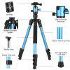 Mactrem Camera Tripod 62.5  Lightweight Alluminum Alloy DSLR Tripod Ball Head Travel Tripod Detachable Monopod - BLUE