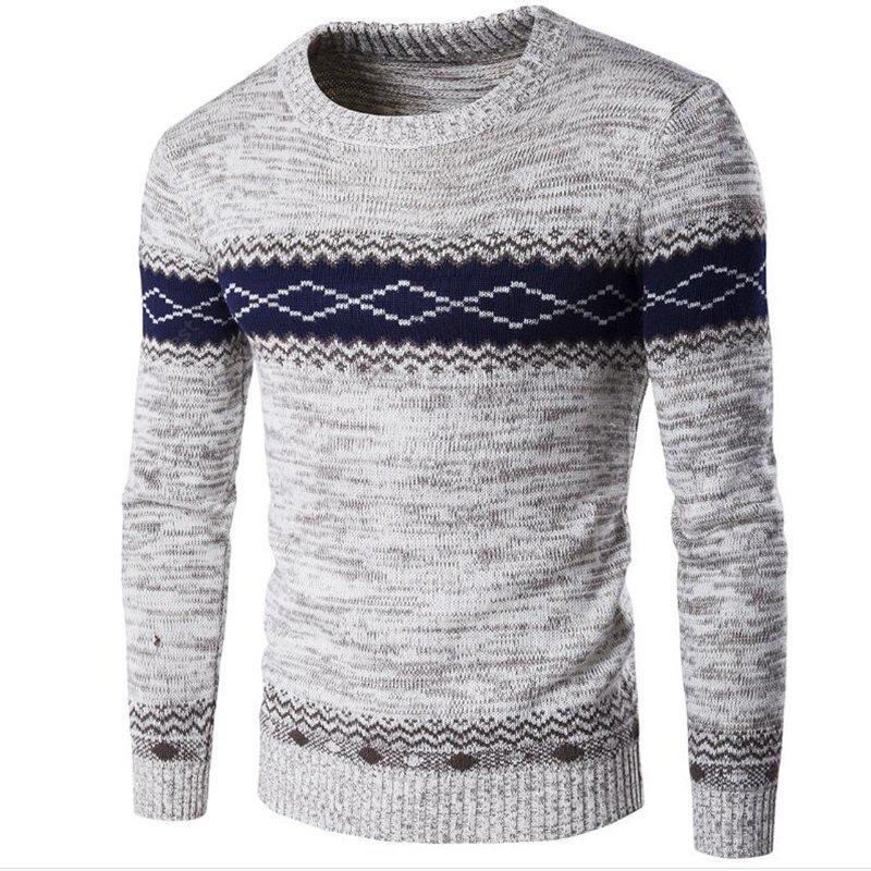 Men's Daily Going out Holiday Casual Regular Pullover Color Block Round Neck Long Sleeves Wool Winter FallThick Sweater