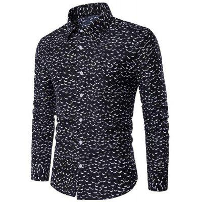 Men's Daily Going out Casual Active Street chic All Seasons Polka Dot Geometric Classic Collar Long Sleeves Cotton Shirt