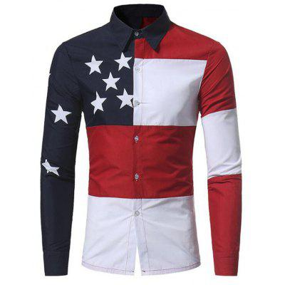 Men's Daily Vintage Spring Fall  Color Block Shirt Collar Long Sleeves Polyester Thin Shirt