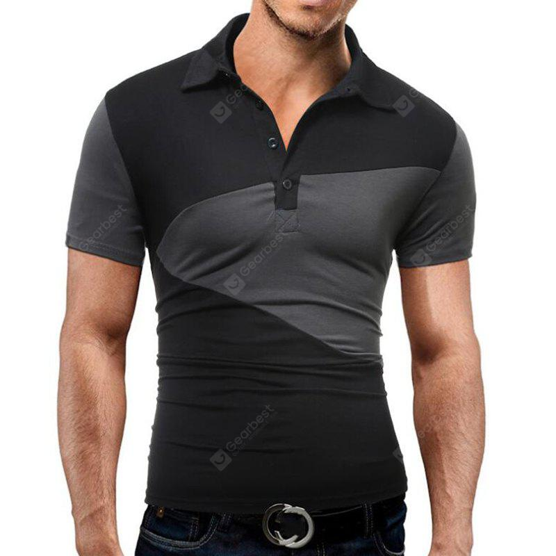 Men's Daily Casual Vintage Casual Active Solid Patchwork Shirt Collar Short Sleeves Cotton  Polo