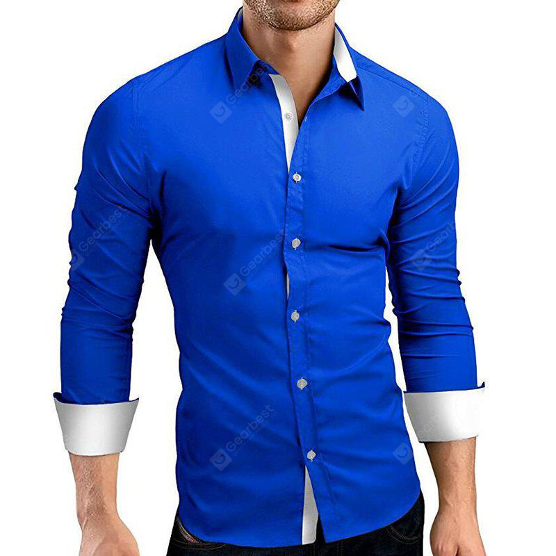 Men's Daily Work Plus Size Casual Spring Fall Solid Classic Collar Long Sleeves Cotton Others Shirt