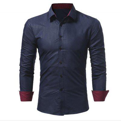 Men's Fashion Obscure Diamond Lattice Slim Fit Long-Sleeve Shirt