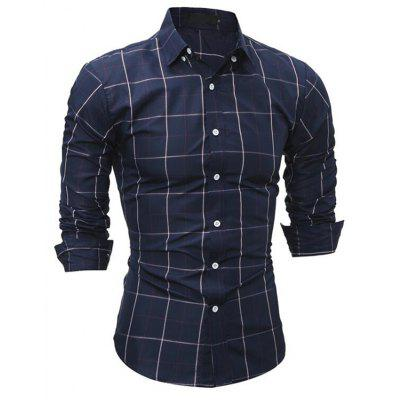 Men's Daily Going out Casual Spring Fall Solid Shirt Collar Long Sleeves Polyester Shirt