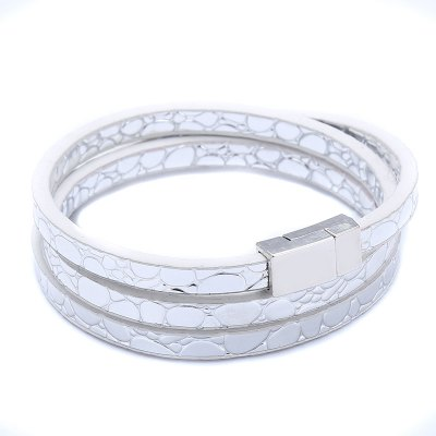 2018 Fashion Classic Four Colors Charm Leather Bracelets & Bangles Jewelry For Women Long Magnet Clasp Statement
