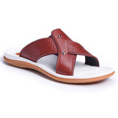 2017 Summer Men'S Leather Slippers Sandals Good Quality Outdoor Leather Slippers