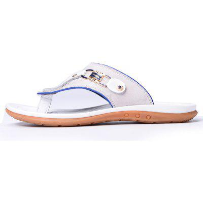 Male Beach Cowhide Flip FlopsMens Slippers<br>Male Beach Cowhide Flip Flops<br><br>Available Size: 38 39 40 41 42 43<br>Embellishment: Sequined<br>Gender: For Men<br>Outsole Material: Rubber<br>Package Contents: 1xShoes(pair)<br>Pattern Type: Solid<br>Season: Summer<br>Slipper Type: Outdoor<br>Style: Leisure<br>Upper Material: Genuine Leather<br>Weight: 1.9448kg