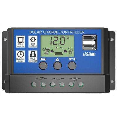 10A 12V 24V PWM Voltage Solar Charge Controller LCD Display Battery PV Cell Panel Charger Regulator
