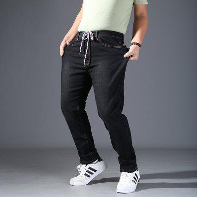 New Enlarging Code  Loose Rope  Tighten  Waist JeansMens Pants<br>New Enlarging Code  Loose Rope  Tighten  Waist Jeans<br><br>Closure Type: Zipper Fly<br>Fit Type: Loose<br>Front Style: Flat<br>Material: Cotton<br>Package Contents: 1 x pants<br>Pant Length: Long Pants<br>Pant Style: Straight<br>Style: Casual<br>Waist Type: Mid<br>Weight: 0.4500kg