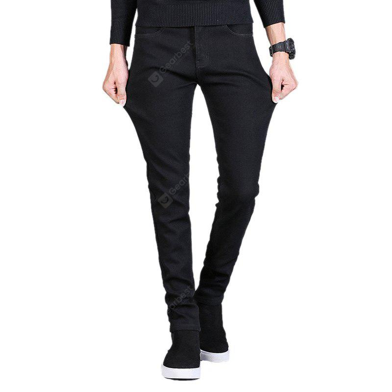 Daifansen Winter Masculine Warm Black Jeans
