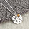 Star Falls Hand Stamped Letter Pendant Rose Mirror Crystal Beads Necklace Jewelry - SILVER