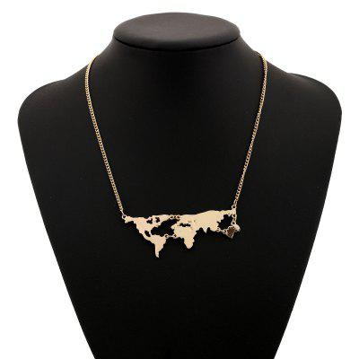 Personality Exaggerated World Map Combination Pendant Necklace