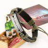 Fashion Fearless English Letters Vintage Leather Weaving Rope Bracelet Charm Trendy Jewelry - BLACK