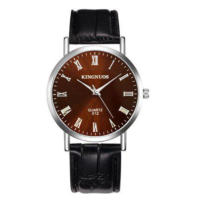 Fashion Casual  PU Leather Strap Stainless Steel Quartz Watch Analog Waterproof Watch