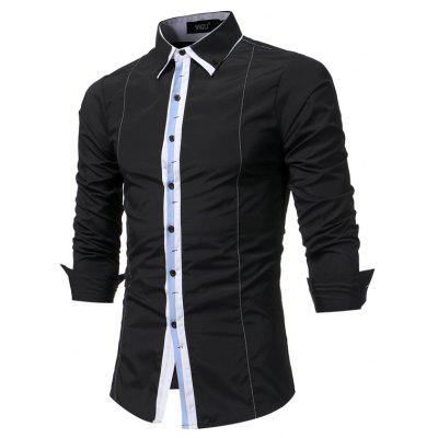 Men Fashion Spell Casual Long Sleeved Shirt Business Men Slim Large Size Shirt