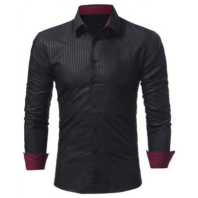 New Classic Dark Stripes Casual Slim Long-Sleeved Shirt