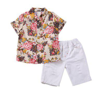 Kimoct Summer Boy Short-sleeved Floral Shirt Casual Trousers Suit