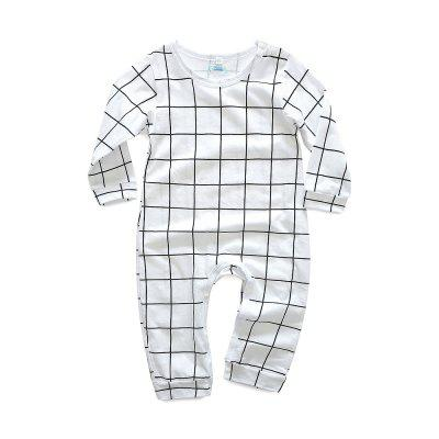 Kimocat Baby Spring Jumpsuit Baby Cotton Long-sleeved Grid Climb Clothes