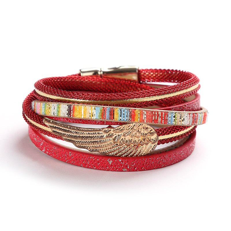 GS001 Women Leather Bracelet with Wing Charm