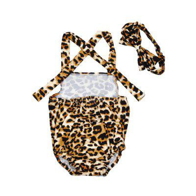 SOSOCOER Baby Girls Clothes Set Leopard Halter Newborn Romper and Hair Band Two Piece he hello enjoy baby girl clothes sets newborn short leopard grain baby bodysuit short sleeve romper hair band shoes