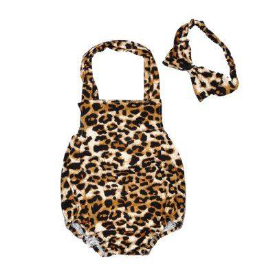 SOSOCOER Baby Girls Clothes Set Leopard Halter Newborn Romper and Hair Band Two Piece