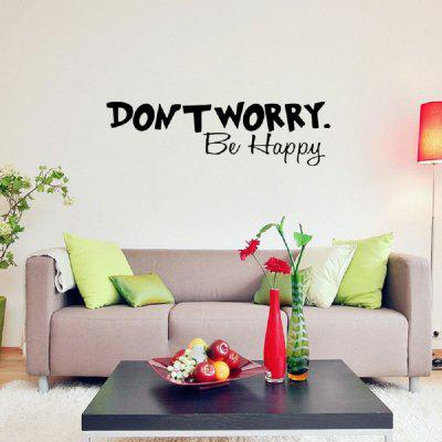 DSU Dont Worry Be Happy Art Wall Sticker Vinyl Removable Decal Mural Home Room DecorWall Stickers<br>DSU Dont Worry Be Happy Art Wall Sticker Vinyl Removable Decal Mural Home Room Decor<br><br>Art Style: Plane Wall Stickers, Toilet Stickers<br>Artists: Others<br>Brand: DSU<br>Color Scheme: Black<br>Effect Size (L x W): 16.2 x 57 cm<br>Function: Decorative Wall Sticker<br>Layout Size (L x W): 16.2 x 57 cm<br>Material: Vinyl(PVC)<br>Package Contents: 1 x Wall Sticker<br>Package size (L x W x H): 20.00 x 5.00 x 5.00 cm / 7.87 x 1.97 x 1.97 inches<br>Package weight: 0.0900 kg<br>Product size (L x W x H): 16.20 x 57.00 x 0.01 cm / 6.38 x 22.44 x 0 inches<br>Product weight: 0.0400 kg<br>Quantity: 1<br>Subjects: Fashion,Letter,Cute,Cartoon,Famous<br>Suitable Space: Living Room,Bedroom,Hotel,Kids Room,Entry,Kitchen,Pathway,Door,Corridor,Hallway,Boys Room,Game Room<br>Type: Plane Wall Sticker