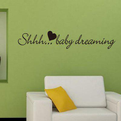DSU Shhh... Baby Dreaming Quote Wall Sticker Children Room Art Decal Easy Wall Kids DecorWall Stickers<br>DSU Shhh... Baby Dreaming Quote Wall Sticker Children Room Art Decal Easy Wall Kids Decor<br><br>Art Style: Plane Wall Stickers, Toilet Stickers<br>Artists: Others<br>Brand: DSU<br>Color Scheme: Black<br>Effect Size (L x W): 10.3 x 57 cm<br>Function: Decorative Wall Sticker<br>Layout Size (L x W): 10.3 x 57 cm<br>Material: Vinyl(PVC)<br>Package Contents: 1 x Wall Sticker<br>Package size (L x W x H): 13.00 x 5.00 x 5.00 cm / 5.12 x 1.97 x 1.97 inches<br>Package weight: 0.0800 kg<br>Product size (L x W x H): 10.30 x 57.00 x 0.01 cm / 4.06 x 22.44 x 0 inches<br>Product weight: 0.0300 kg<br>Quantity: 1<br>Subjects: Fashion,Letter,Cute,Cartoon,Famous<br>Suitable Space: Living Room,Bedroom,Hotel,Kids Room,Entry,Kitchen,Pathway,Door,Corridor,Hallway,Boys Room,Game Room<br>Type: Plane Wall Sticker