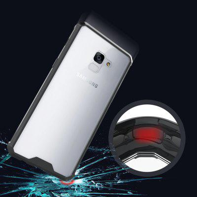 Transparent Surface Shockproof Back PC Case for Samsung Galaxy A8+ 2018 metal ring holder combo phone bag luxury shockproof case for samsung galaxy note 8