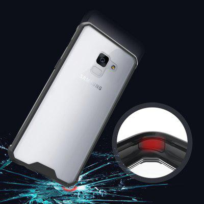 Transparent Surface Shockproof Back PC Case for Samsung Galaxy A8 2018 metal ring holder combo phone bag luxury shockproof case for samsung galaxy note 8