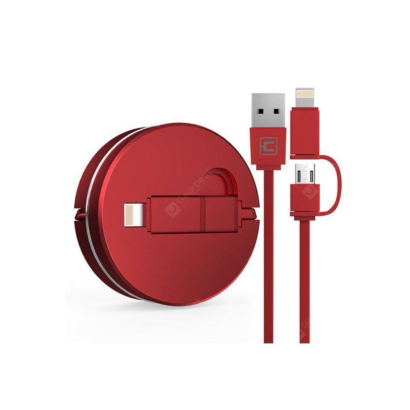 2 in 1 8 Pin and Micro USB Port Charging and Data Transfer Retractable USB Cable
