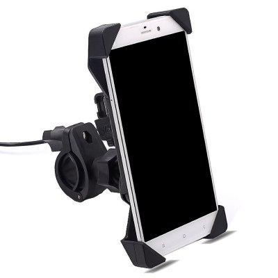 2 in 1 Motorcycle Handlebar Mount Holder Telescopic Phone Bracket With USB Charger Charging montblanc