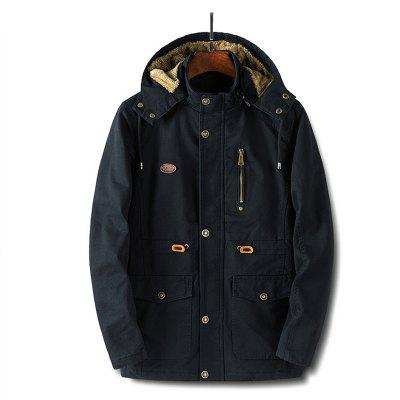 Men Plus Velvet Hooded Cotton Uniform CoatMens Jackets &amp; Coats<br>Men Plus Velvet Hooded Cotton Uniform Coat<br><br>Closure Type: Zipper<br>Clothes Type: Padded<br>Collar: Hooded<br>Color Style: Solid<br>Colors: Black,Khaki,Army green<br>Cuff Style: Conventional<br>Detachable Part: None<br>Fabric Type: Cotton<br>Hooded: Yes<br>Lining Material: Polyester<br>Materials: Cotton, Polyester<br>Package Content: 1 x Coat<br>Package size (L x W x H): 1.00 x 1.00 x 1.00 cm / 0.39 x 0.39 x 0.39 inches<br>Package weight: 1.1000 kg<br>Pattern Type: Solid<br>Size1: M,L,XL,4XL,2XL,3XL,5XL<br>Style: Classic<br>Thickness: Thickening