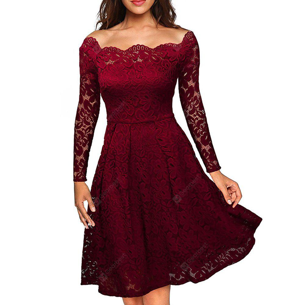 Women'S Vintage Floral Lace Long Sleeve Boat Neck Cocktail Formal Swing Dress