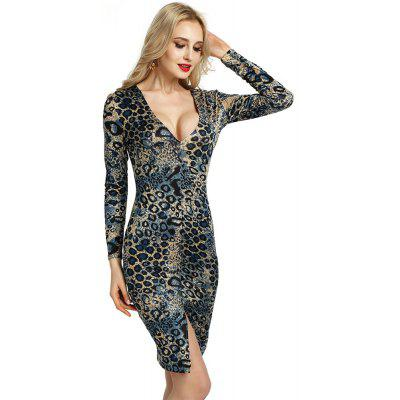 Fashion Women Long Sleeve Leopard Evening Cocktail Bodycon Party Mini Dress