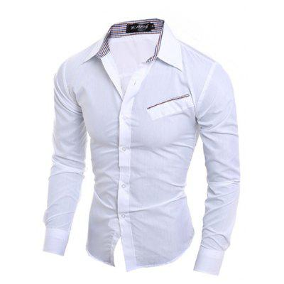 Man's Long Sleeve Shirt with An Inclined Pocket