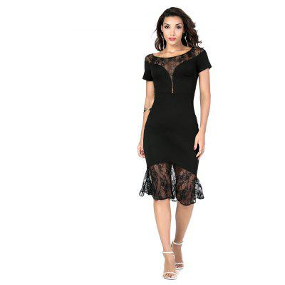Elegant and Generous Fashion Lace DressWomens Dresses<br>Elegant and Generous Fashion Lace Dress<br><br>Dresses Length: Knee-Length<br>Elasticity: Elastic<br>Fabric Type: Broadcloth<br>Material: Cotton, Nylon, Spandex<br>Neckline: Round Collar<br>Package Contents: 1 x dress<br>Pattern Type: Others<br>Season: Spring<br>Silhouette: Straight<br>Sleeve Length: Short Sleeves<br>Style: Casual<br>Weight: 0.2600kg<br>With Belt: No