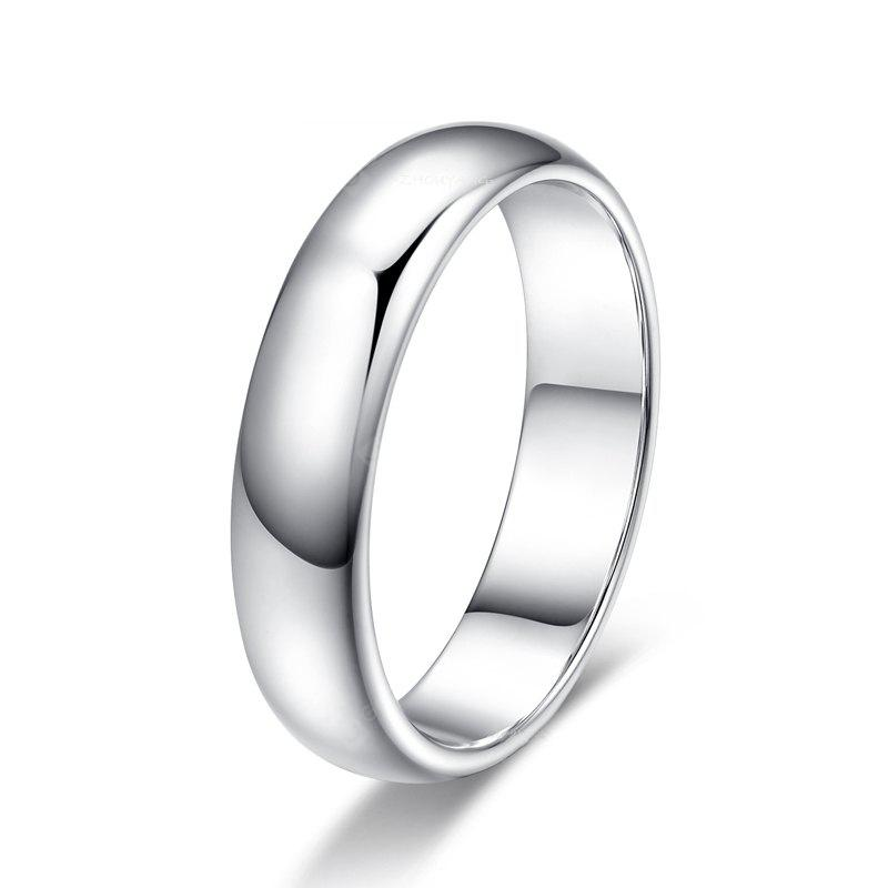 Concise Jewellery for Women 18k White Gold Plated High Polish Wedding Band Classic Ring