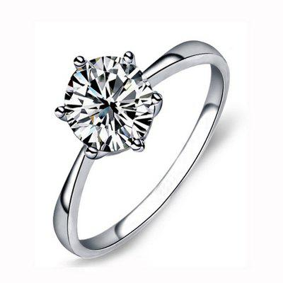 Classic Simple Design 6 Prong Sparkling Solitaire 1ct Cubic Zirconia Forever Love Alianza