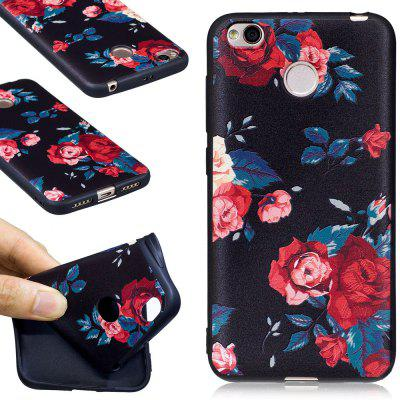 Relief Silicone Case for Xiaomi Redmi 4X Red Flowers Pattern Soft TPU Protective Back Cover