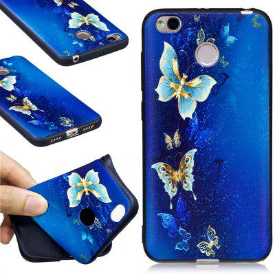 Relief Silicone Case for Xiaomi Redmi 4X Golden Butterfly Pattern Soft TPU Protective Back Cover