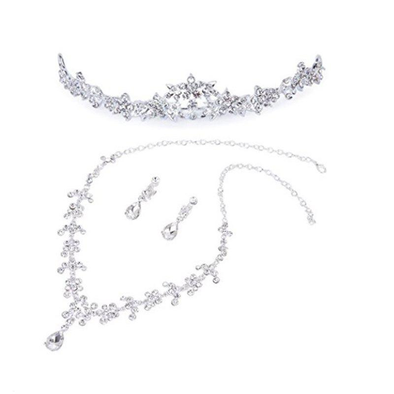 Wedding Bridal Crown Necklace Earrings Set (Sliver)