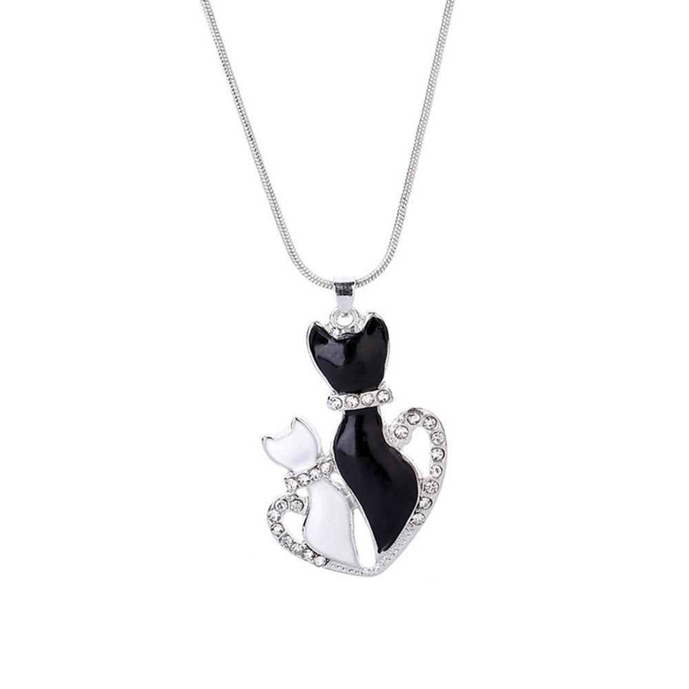 Women Girls Diamond White and Black Cat Heart Pendant Necklace Fashion Jewelry Gifts